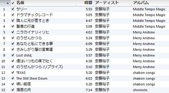 安藤裕子 iTunes マイベスト プレイリスト